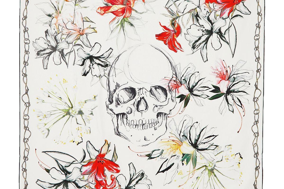 alexander mcqueen printed silk twill scarf