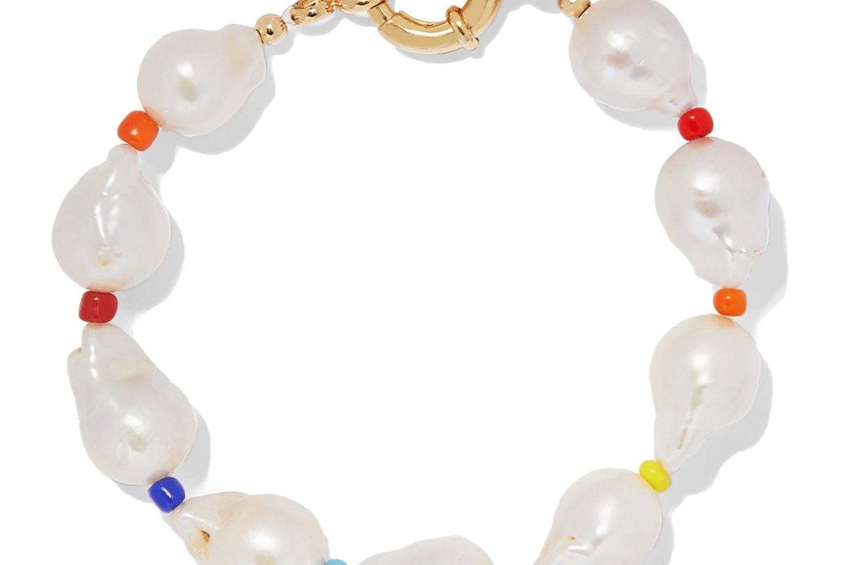 eliou asti pearl and bead anklet