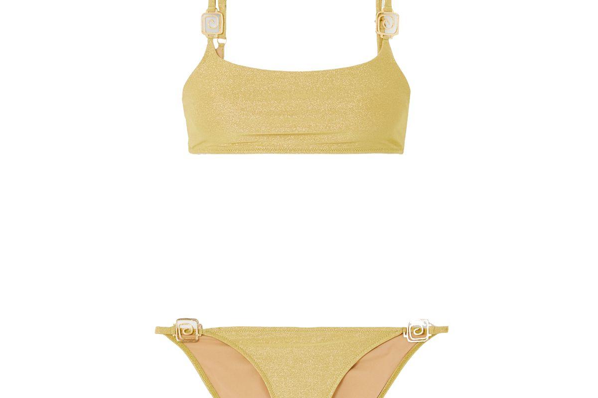 rixo elise embellished stretch lurex bikini