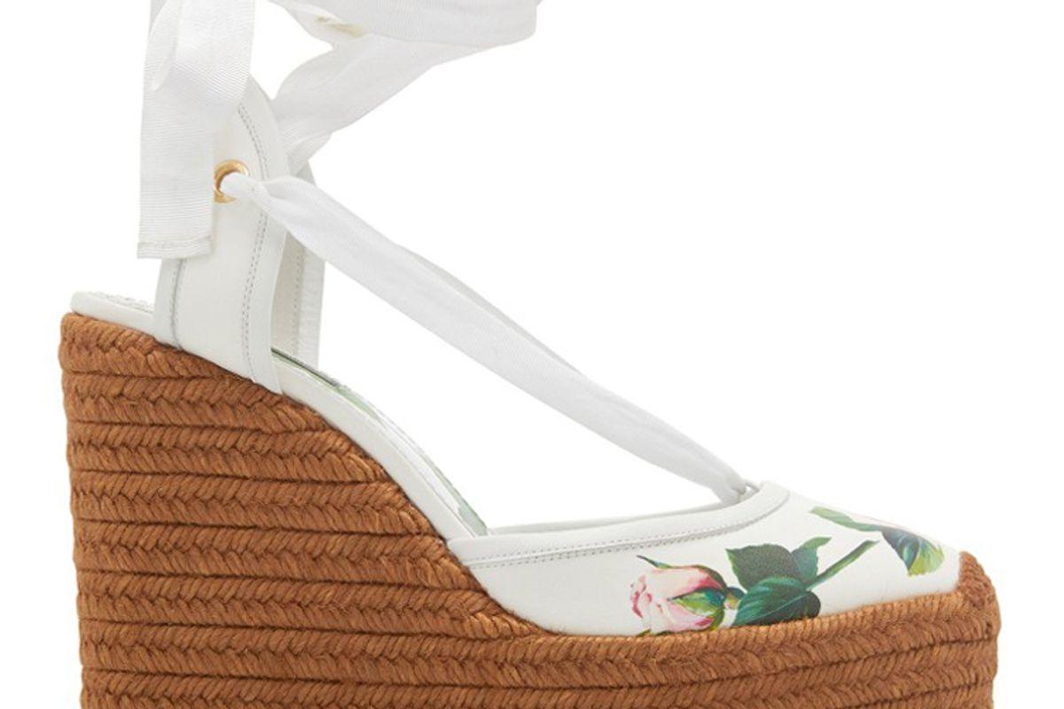 dolce & gabbana floral print leather platform wedge espadrilles