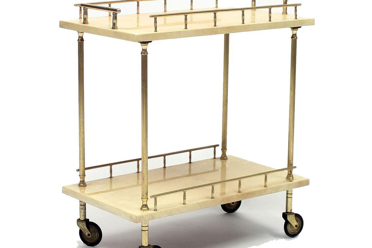 Italian Brass and Goat Skin Bar Cart