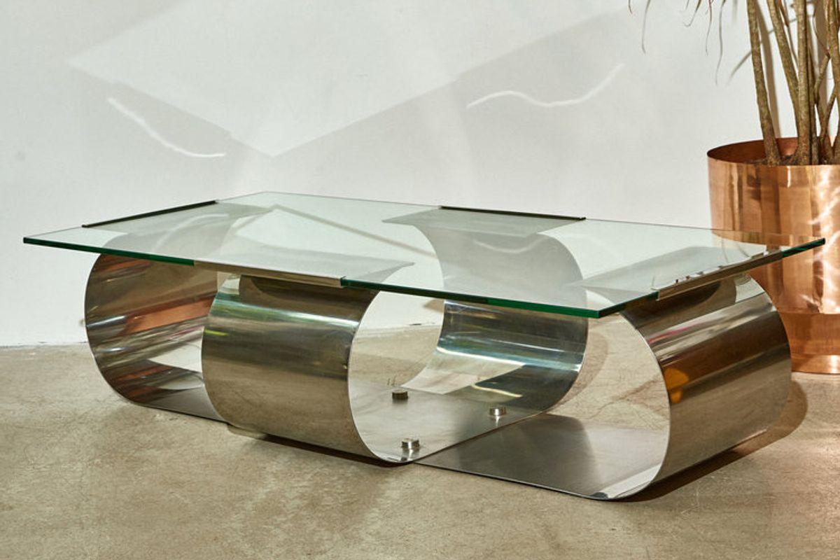 Chrome + Glass Coffee Table