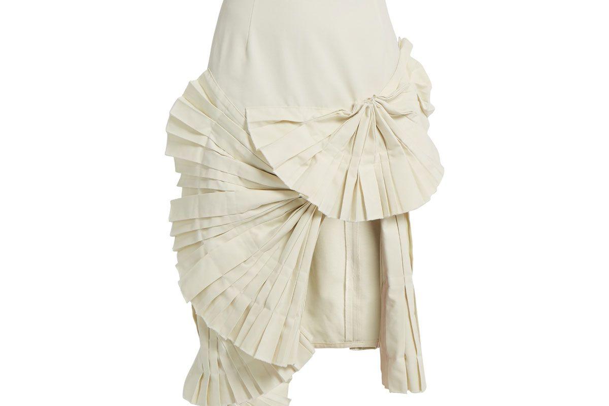 Pleated Fan-Detail Midi Skirt