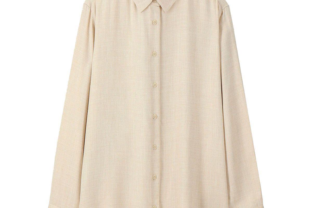 uniqlo womens rayon long sleeve blouse