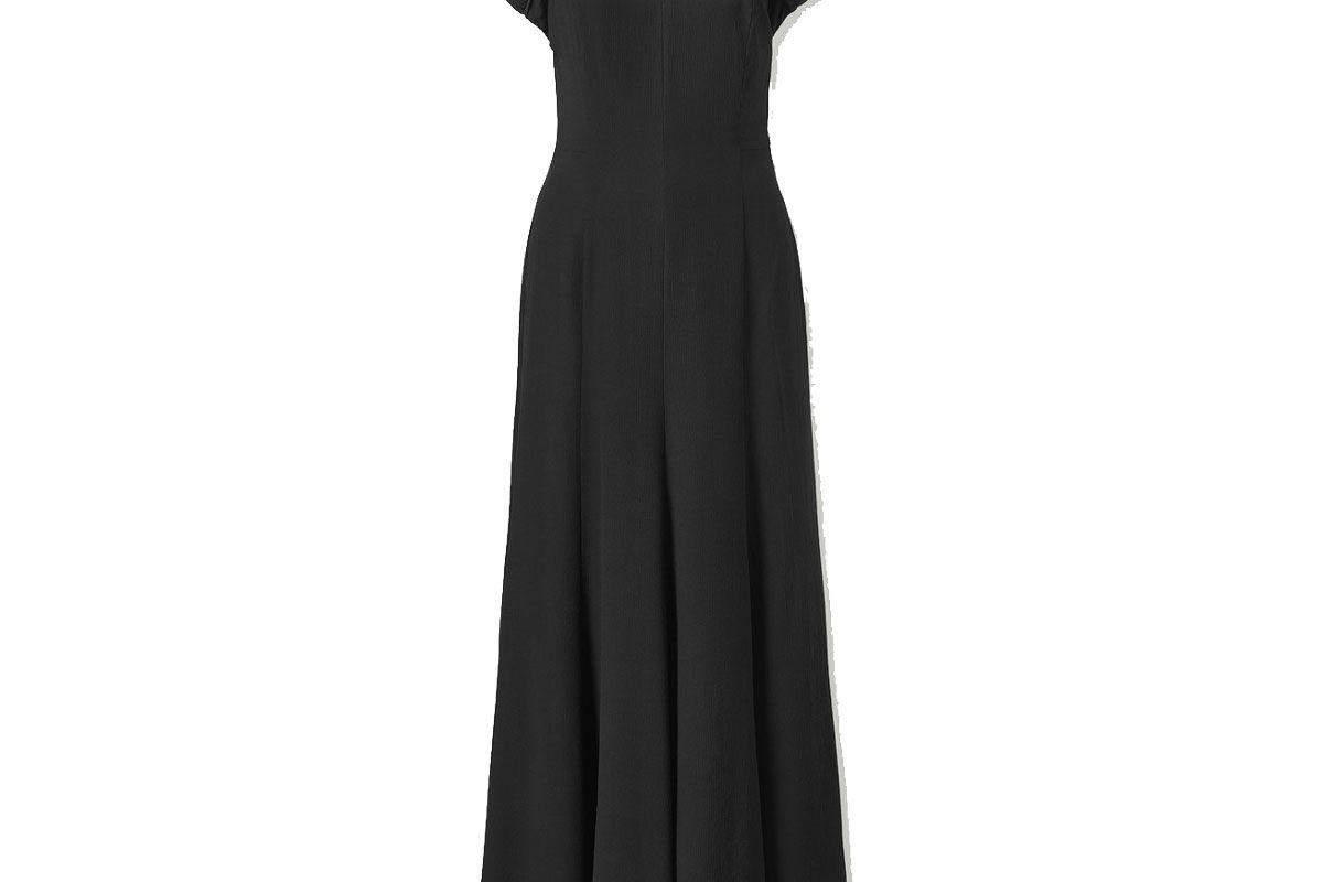 tove yves open back silk crepe maxi dress