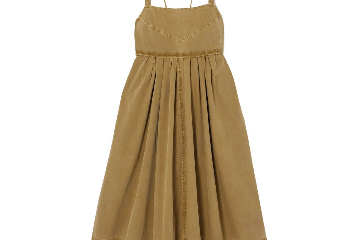 proenza shouler white label tie detailed pleated washed cotton canvas midi dress