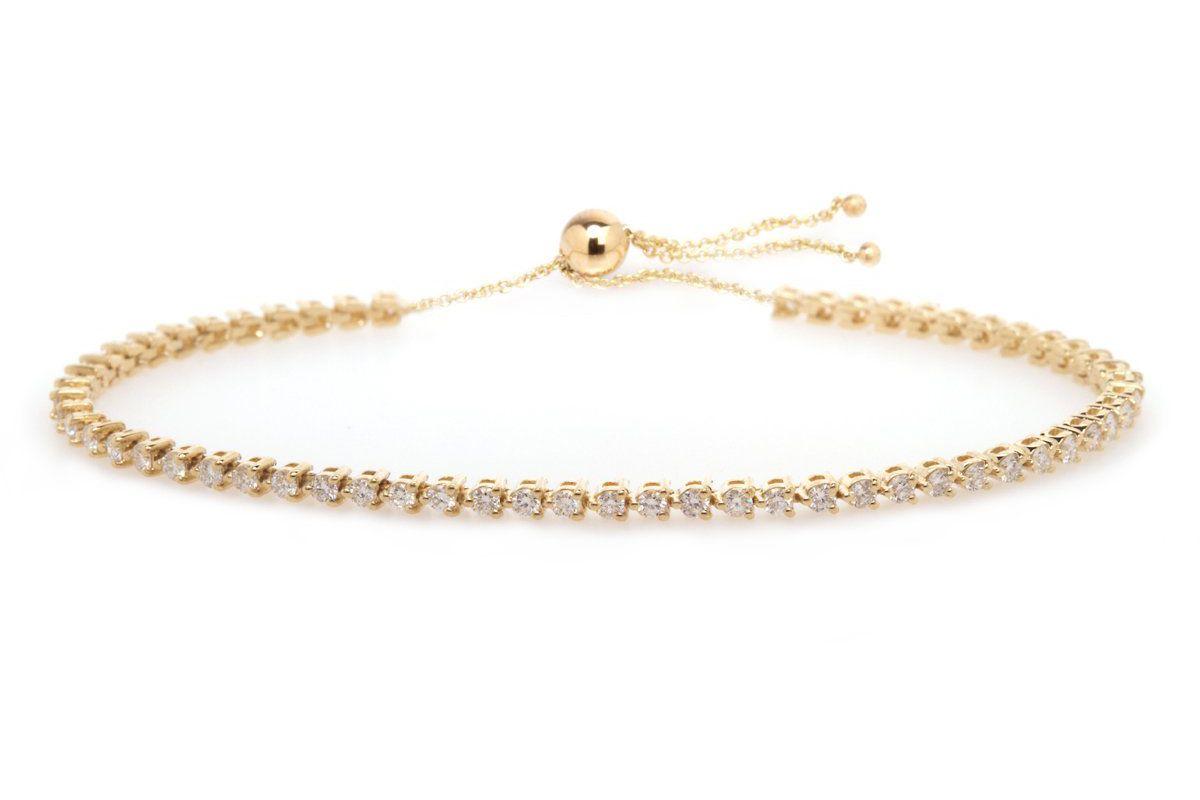 zoe chicco 14k 3 prong diamond tennis bolo bracelet