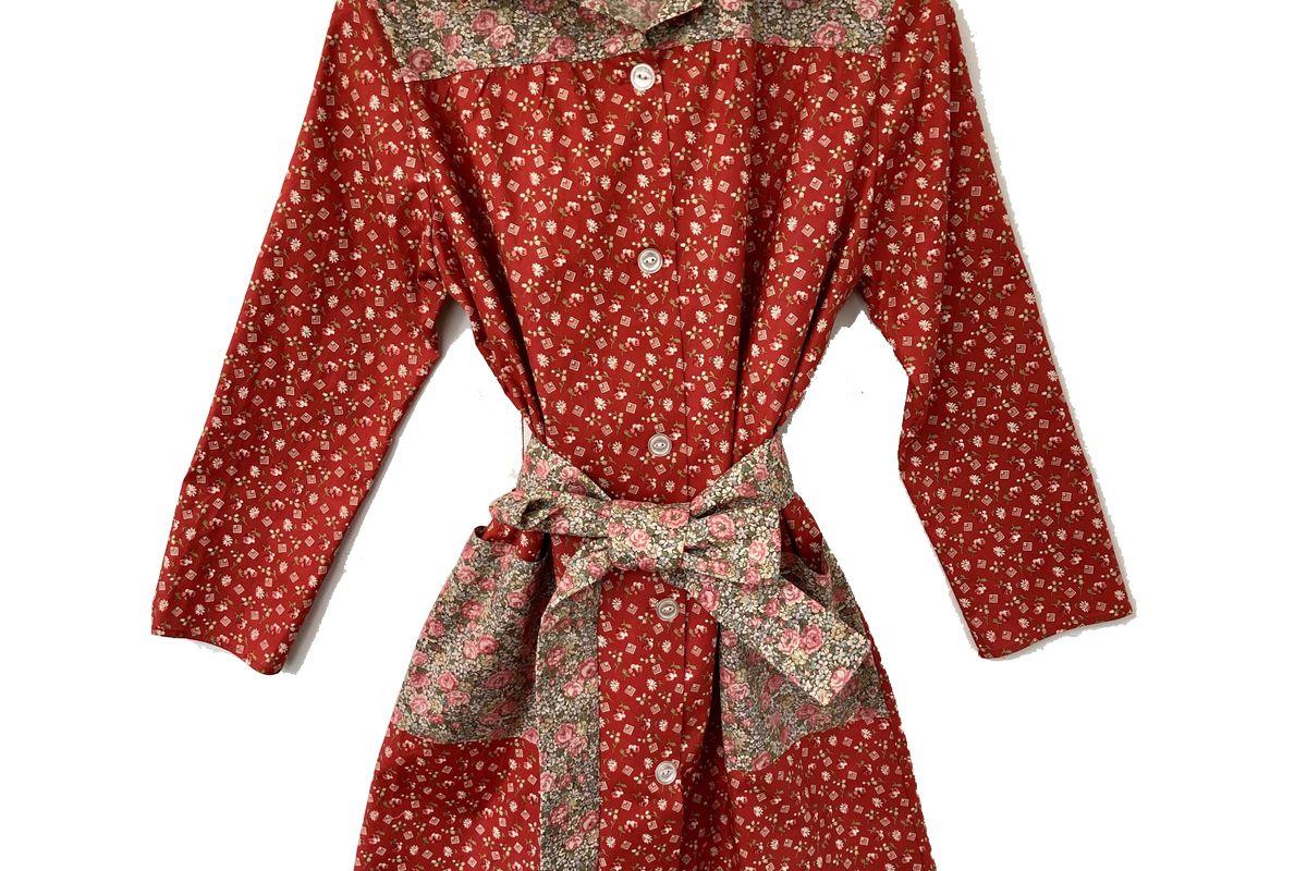 batsheva long sleeve housedress in red square floral