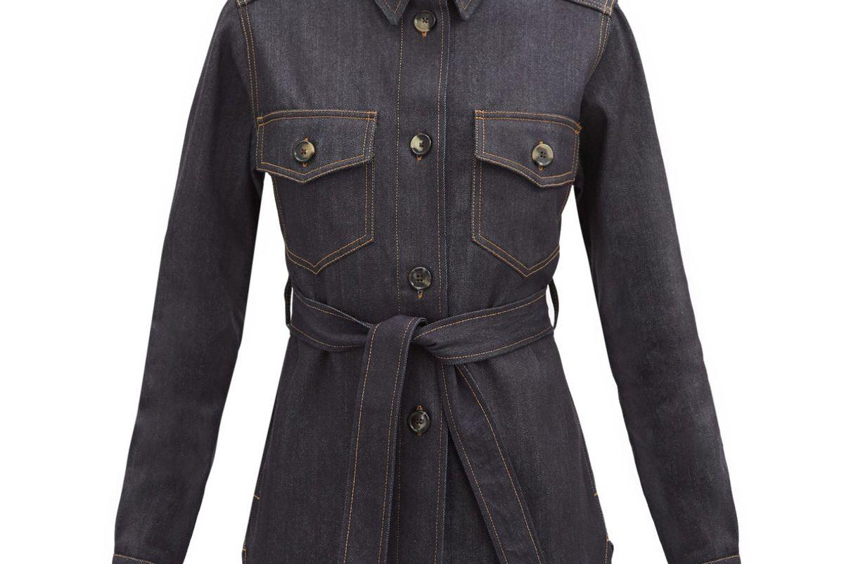 bella freud belted denim shirt jacket