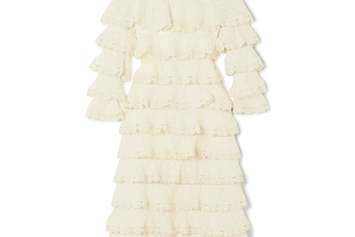 Tiered Lace and Cotton and Silk-Blend Gauze Dress