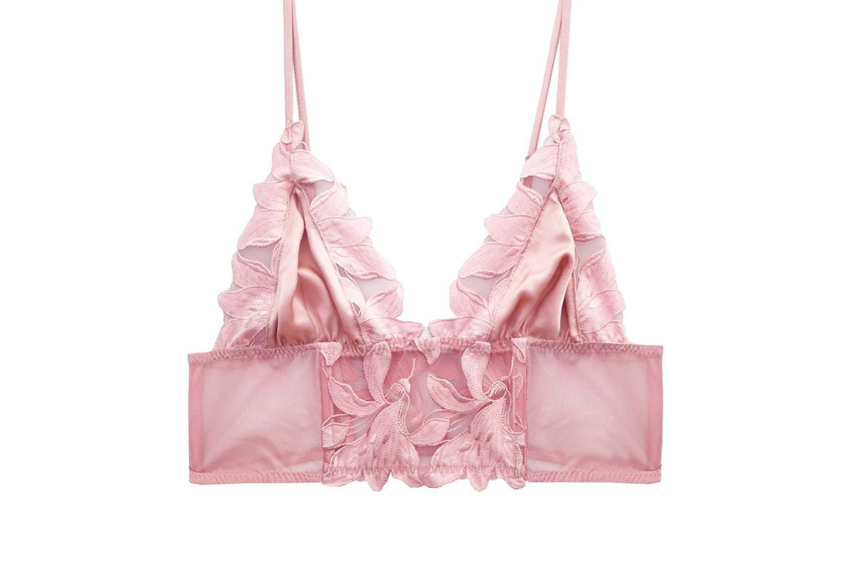 fleur du mal lily embroidery long lined triangle bra pink lady