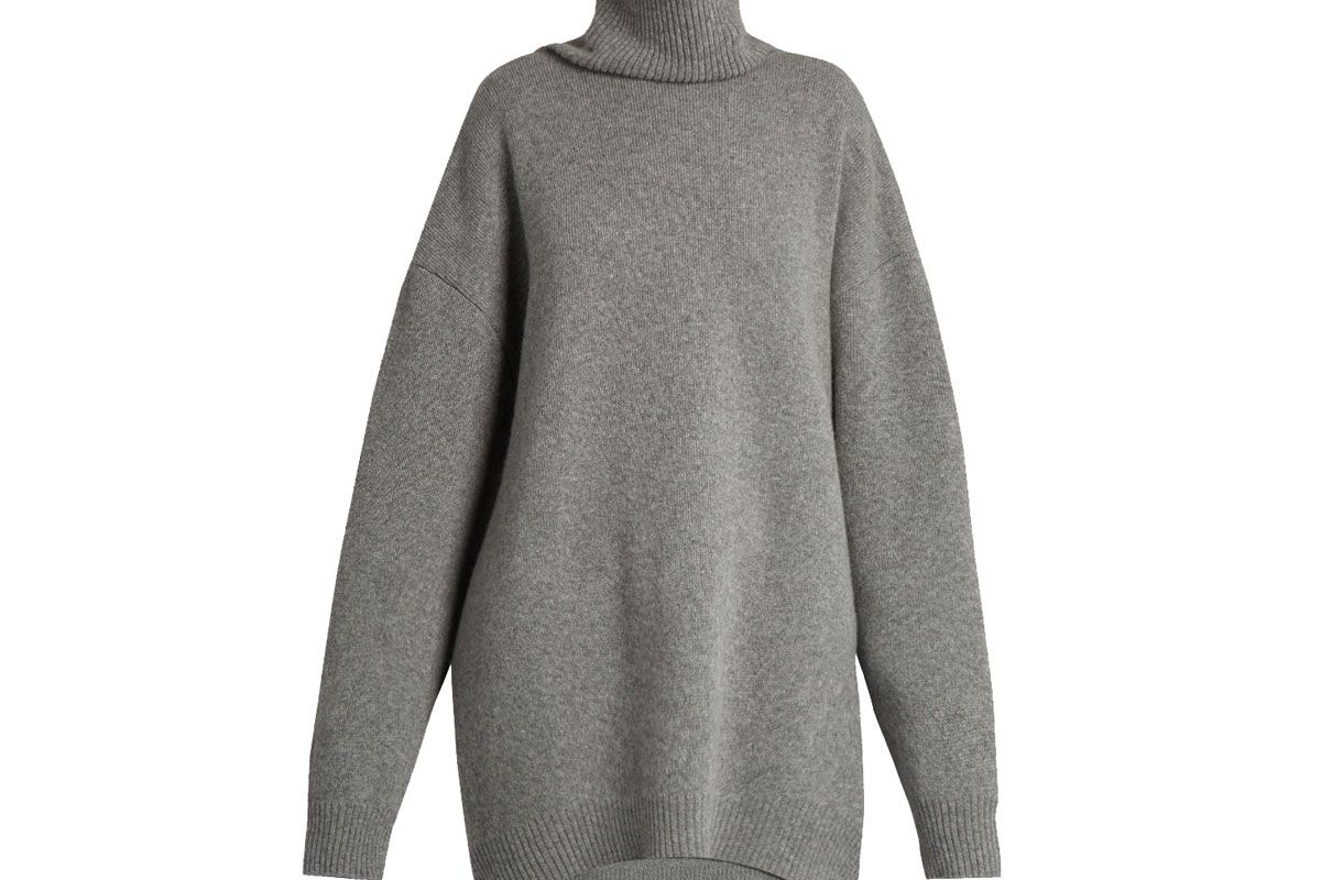 Displaced-Sleeve Roll-Neck Wool Sweater
