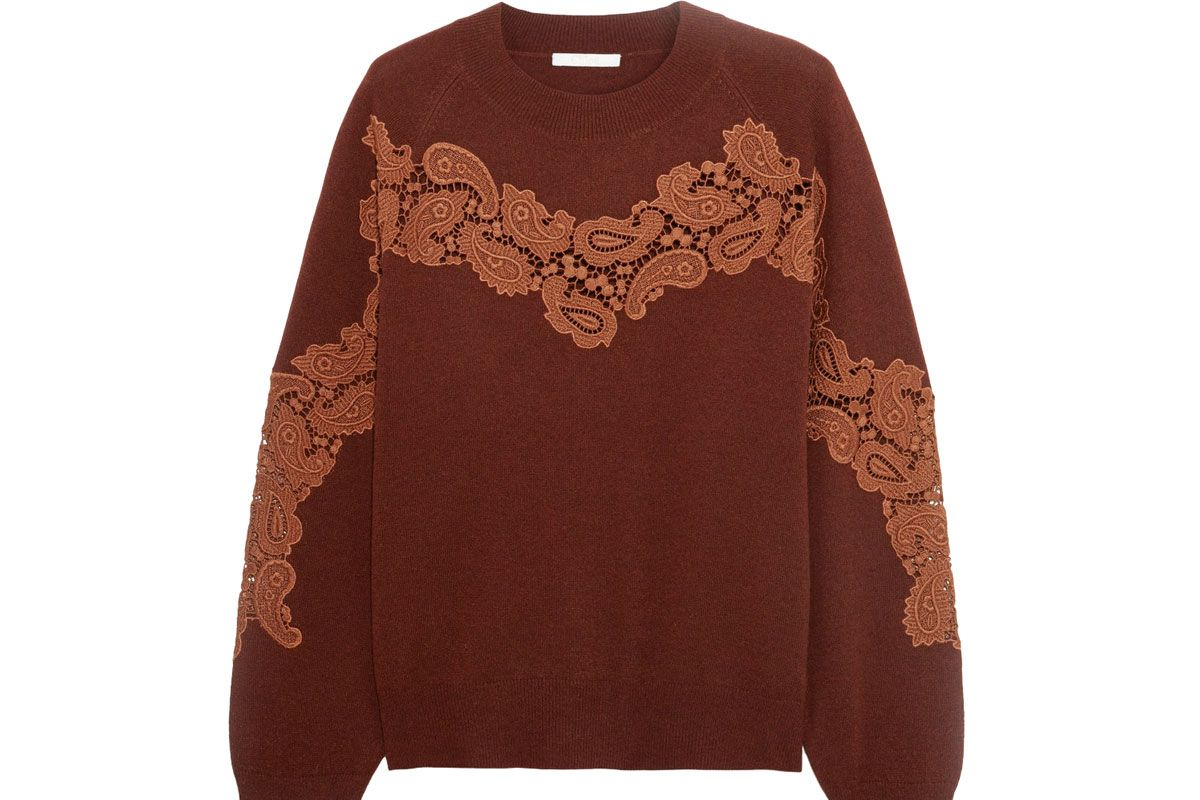 Crochet-Paneled Cashmere Sweater