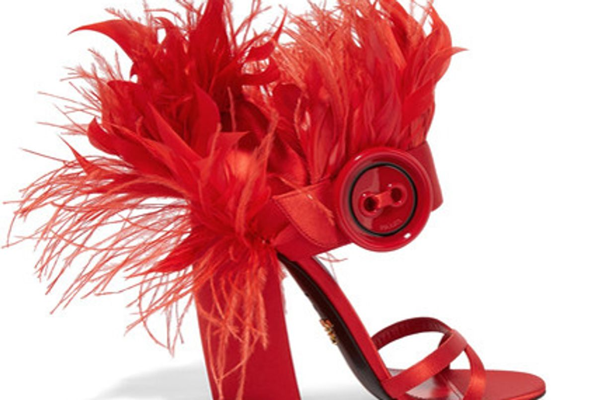 Feather-trimmed satin sandals