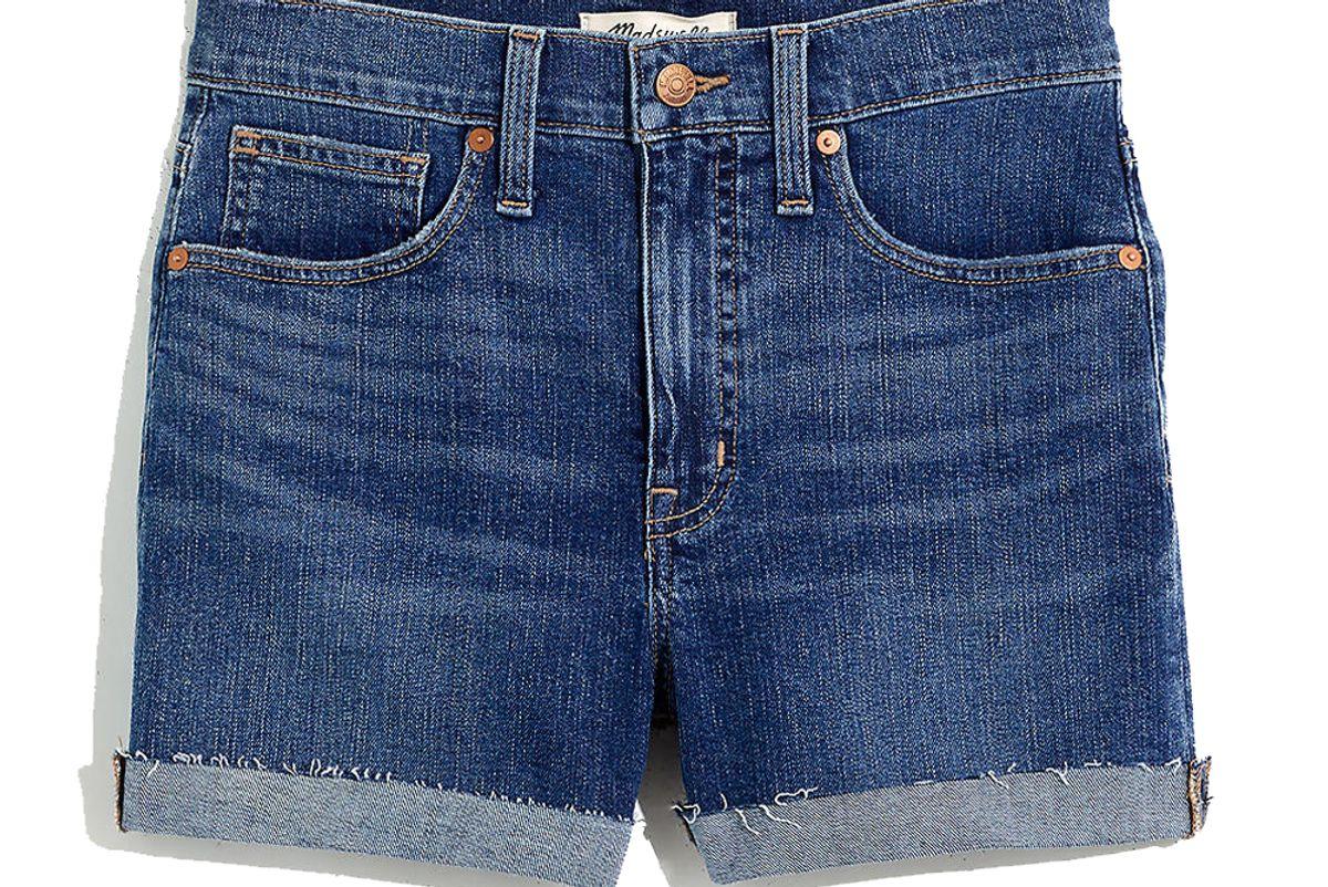 madewell high rise denim shorts in cheriton wash