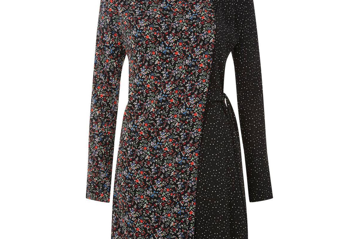 Mix And Match Floral Spot Wrap Dress
