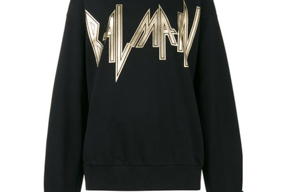 Metallic-Logo Cotton Sweatshirt
