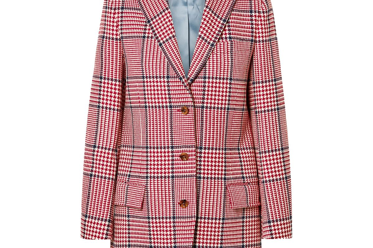 gucci prince of wales checked wool blend blazer