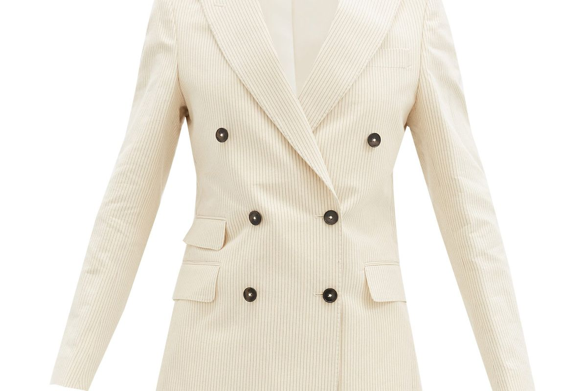 officine generale manon stripe cotton blend jacket