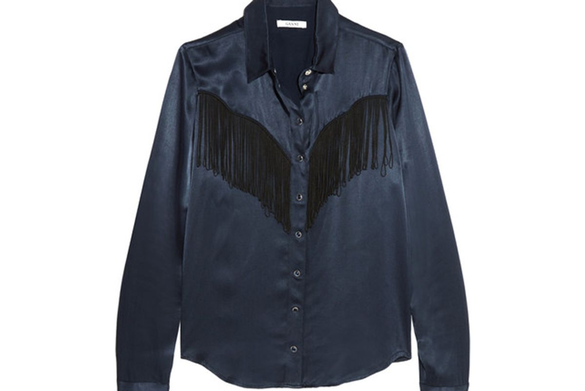 Donnelly Fringed Satin Shirt