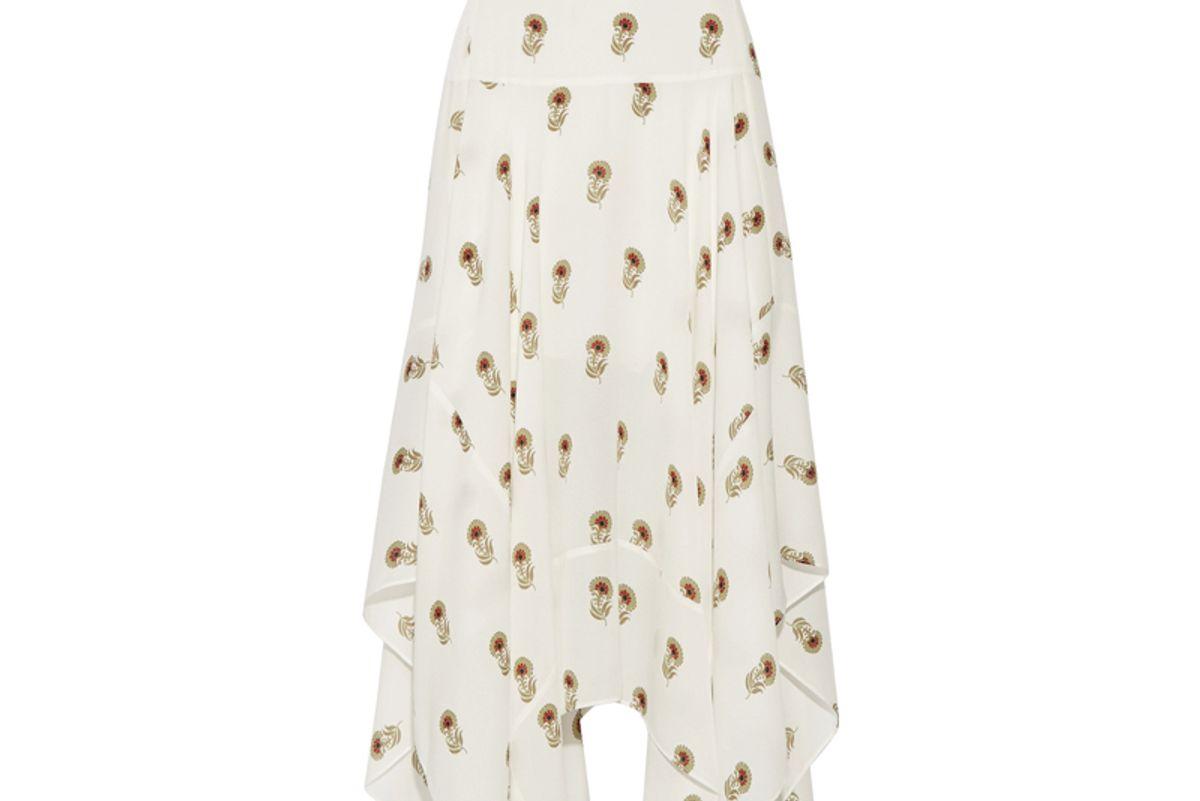 Claudio Ruffled Printed Silk-Georgette Midi Skirt