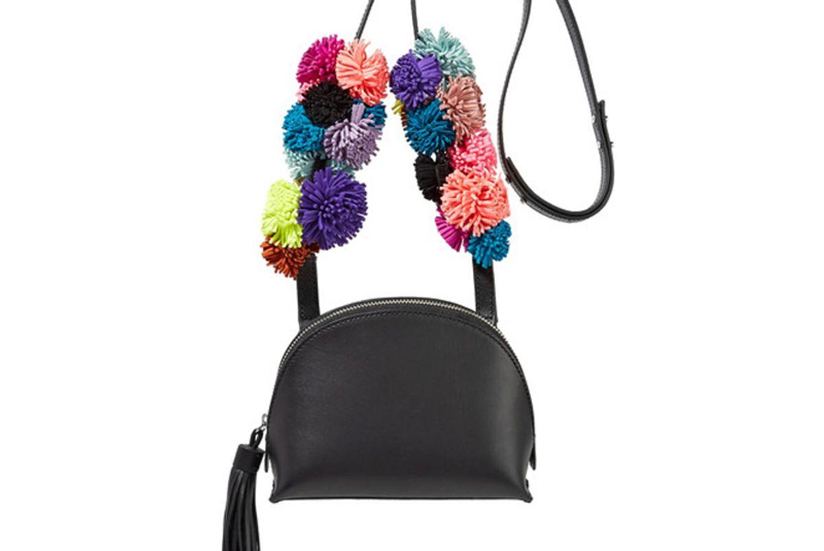 Suede-Trimmed Leather Shoulder Bag