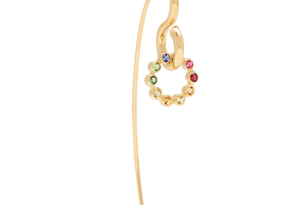Swing Hook Sapphire, Topaz & Gold Earring