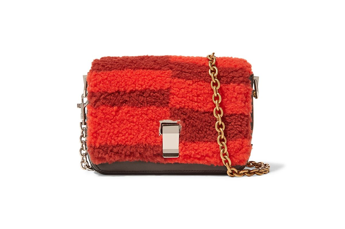 Courier extra small shearling and leather shoulder bag