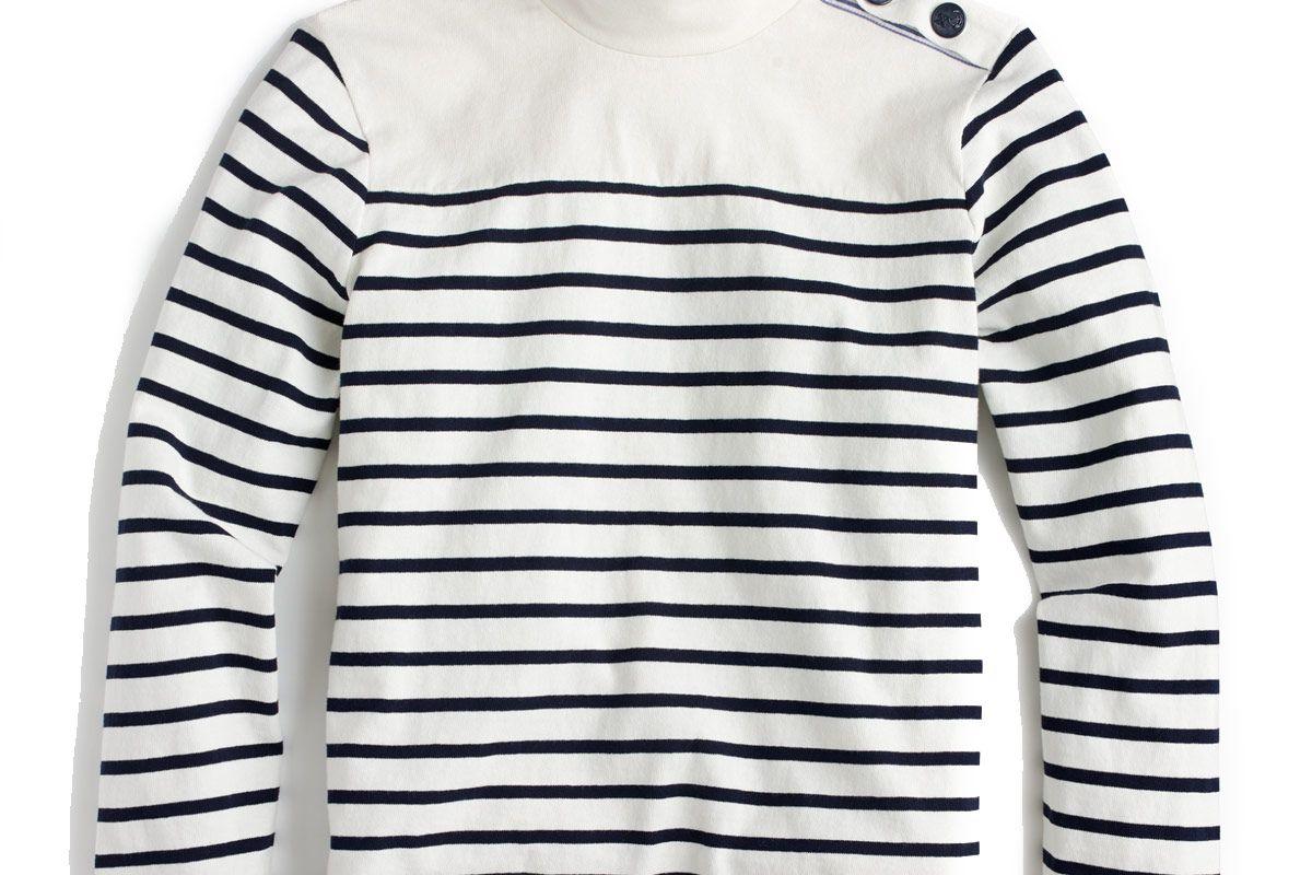 Striped Button-Shoulder Turtleneck