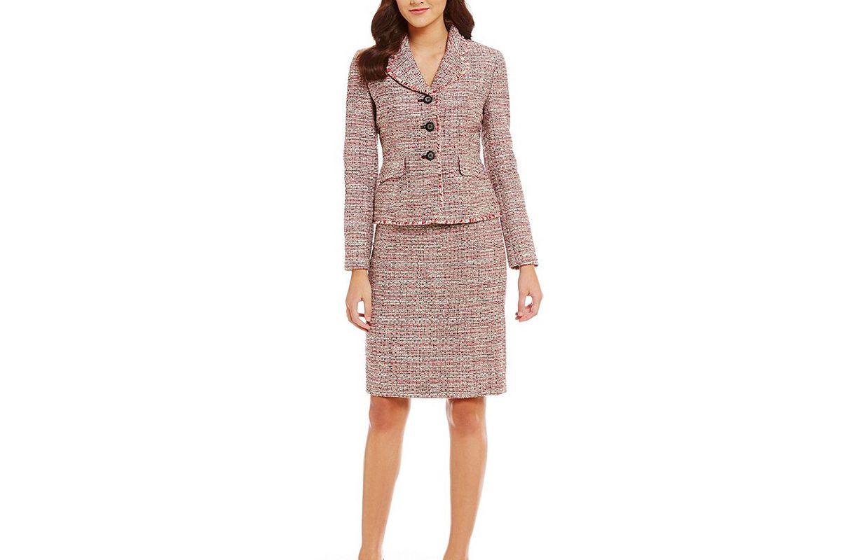 Tweed Flounce Collar Fringe Detail Skirt Suit