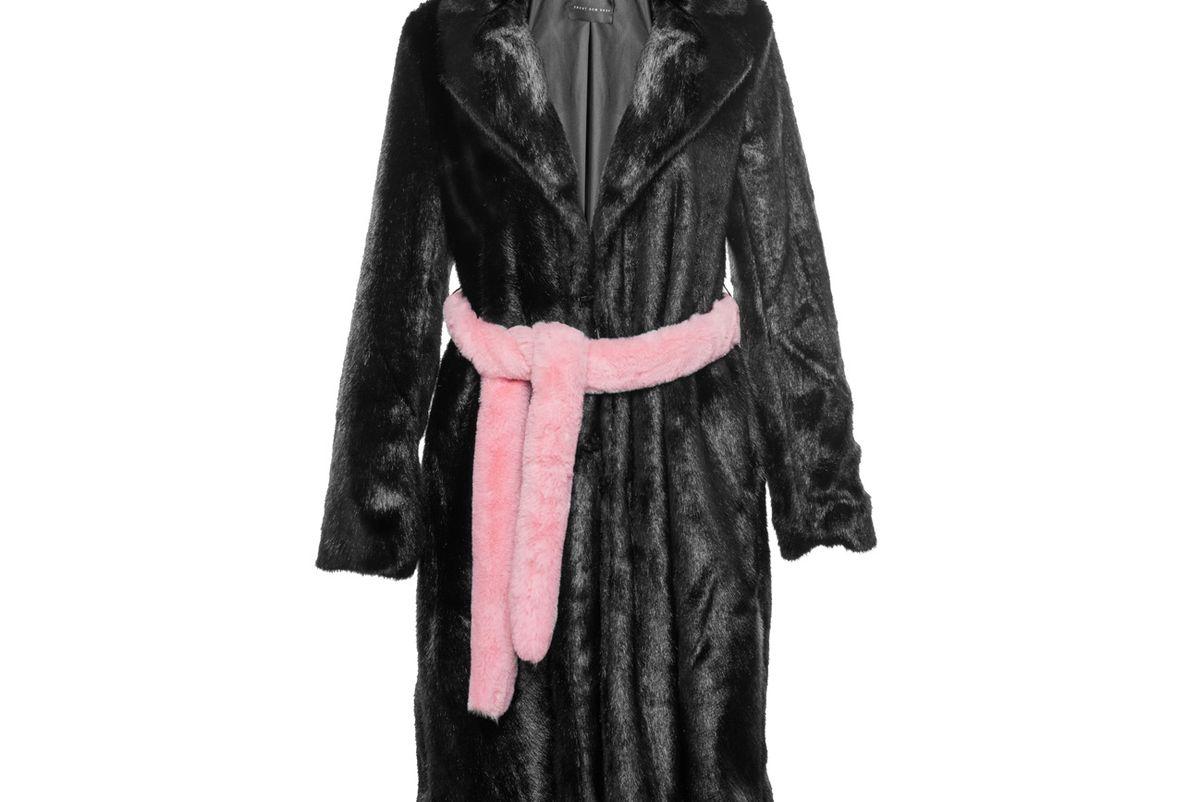 Black Faux Fur Coat with Pink Belt