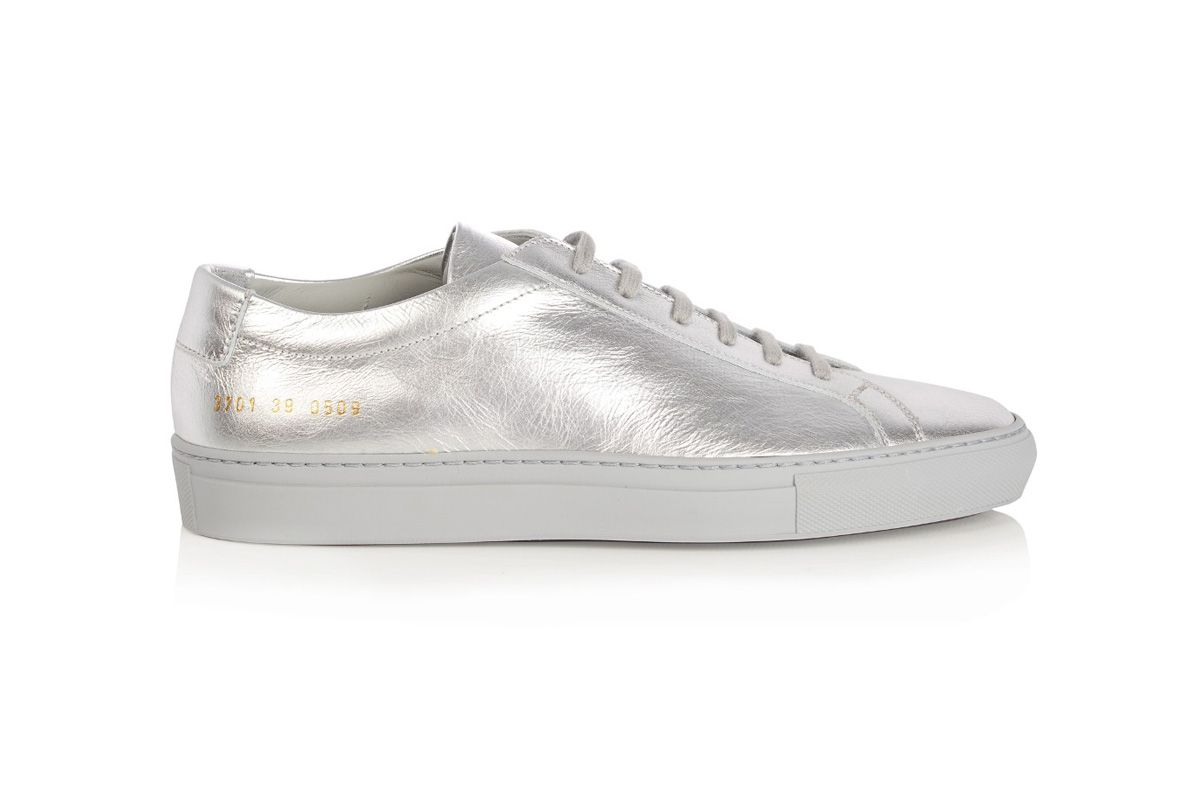 Original Achilles low-top leather trainers in metallic silver