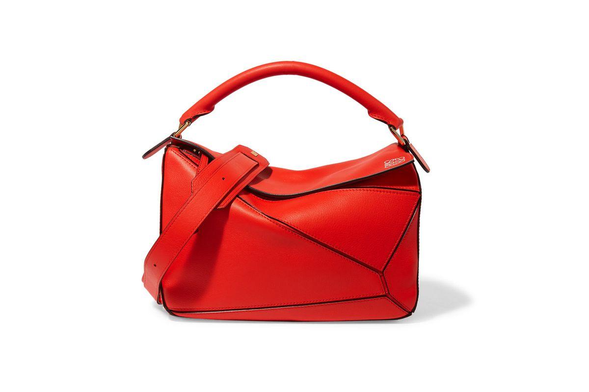 Puzzle leather shoulder bag