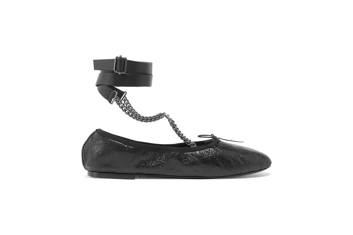 Chain-embellished cracked glossed-leather ballet flats
