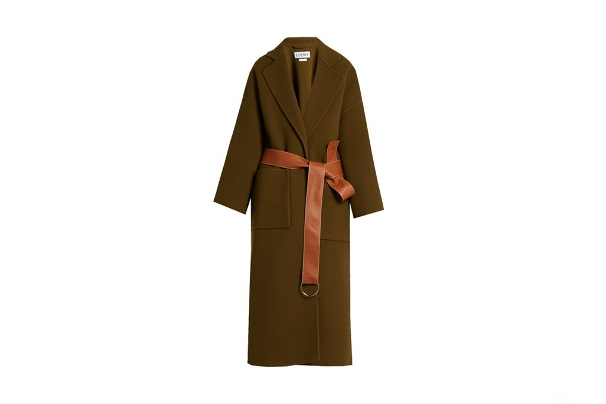 Leather-Belt Wool-Blend Coat