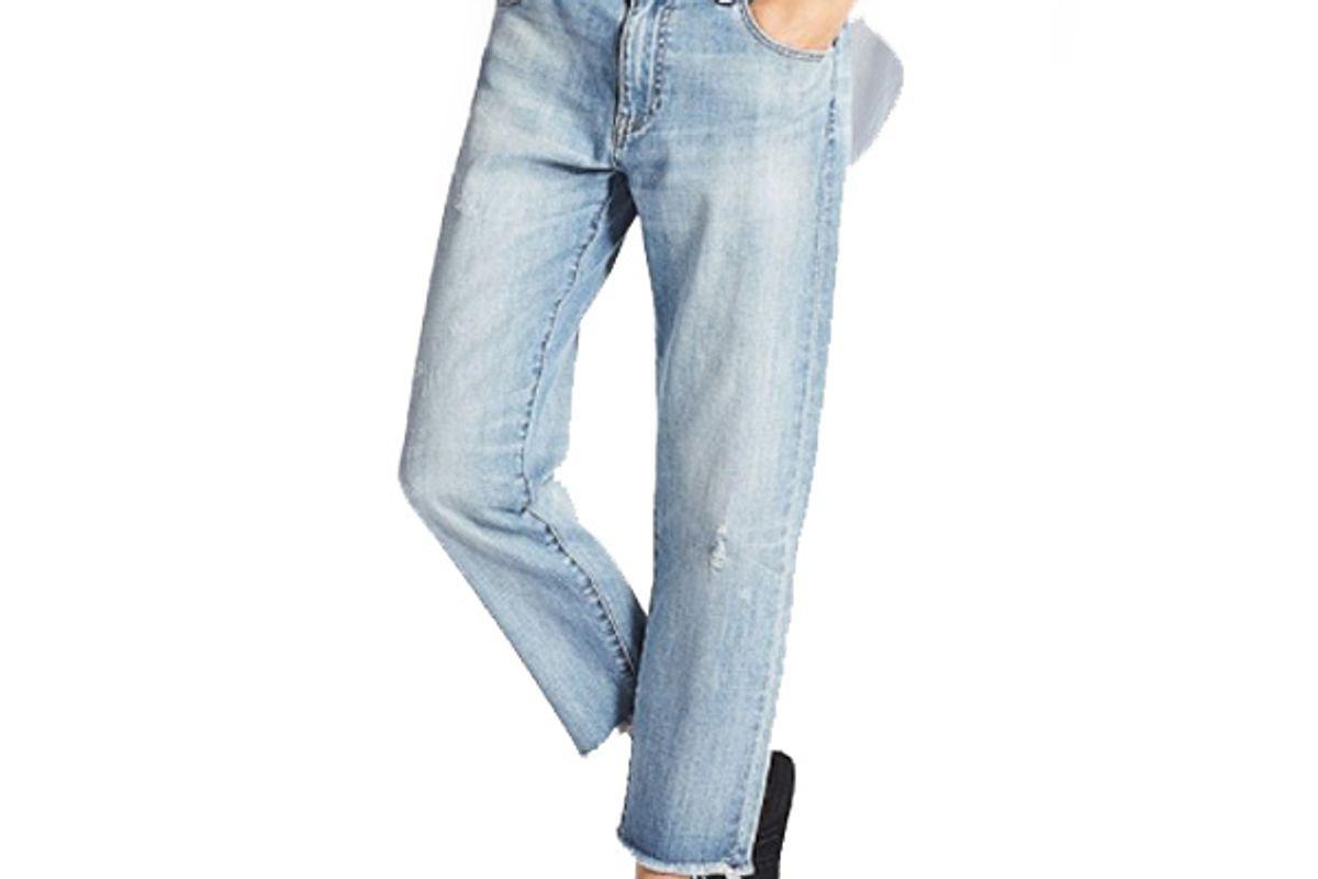 Slim Boyfriend Fit Ankle Jeans in Light Blue