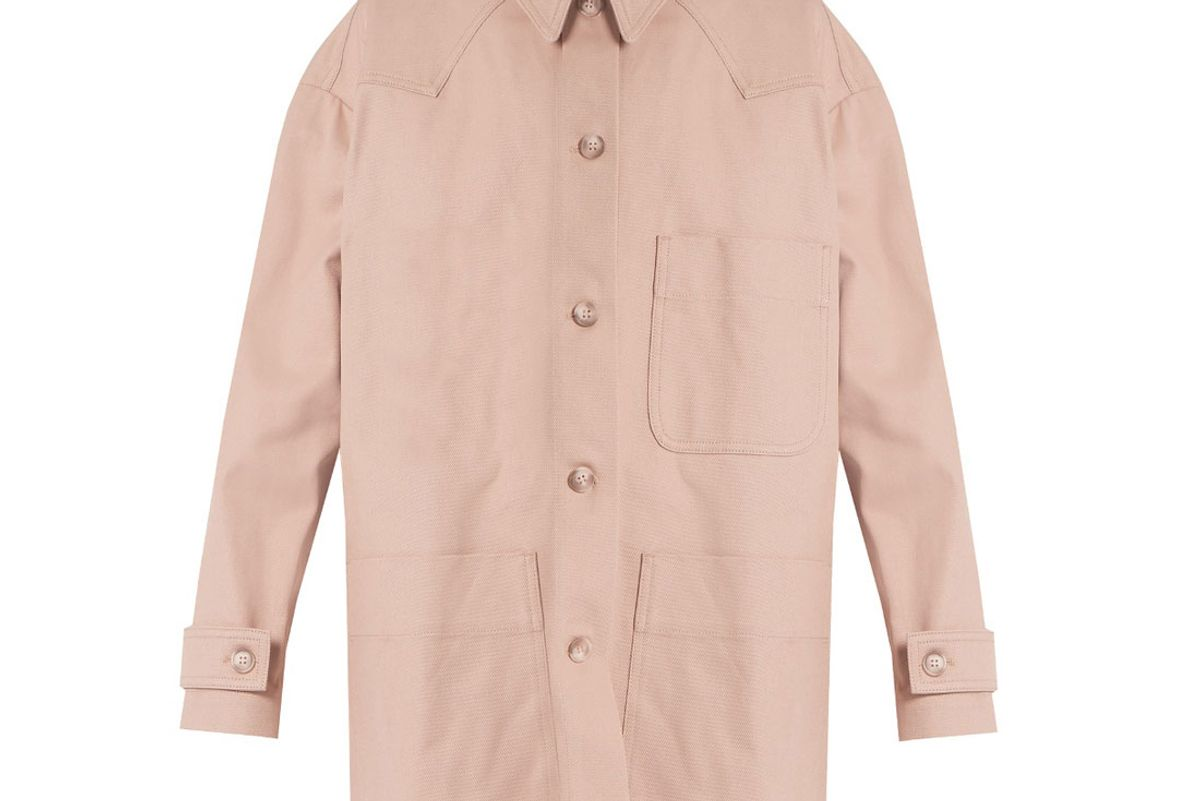 Point-Collar Patch-Pocket Denim Coat