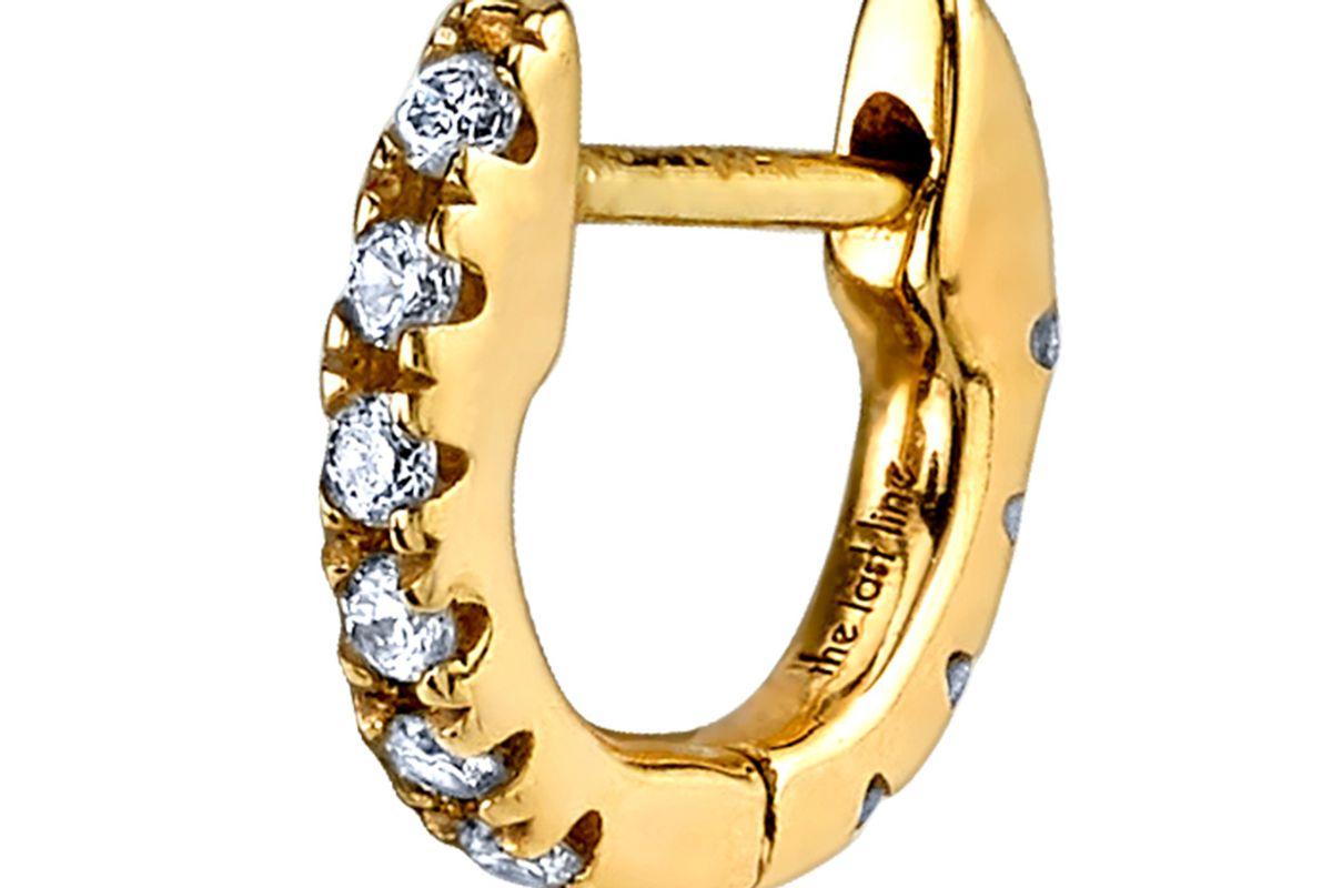 Tiny Diamond Huggie Earring in 14K Yellow Gold