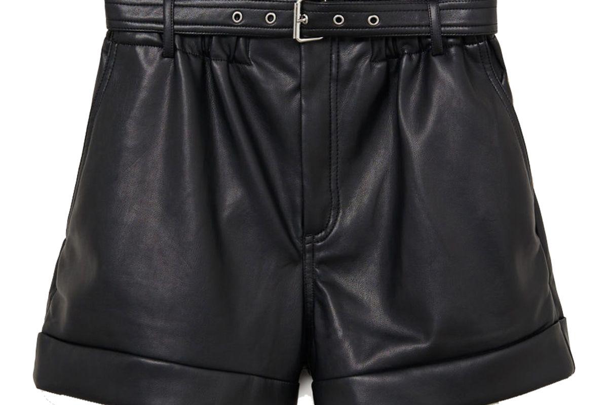 mango belted leather effect shorts