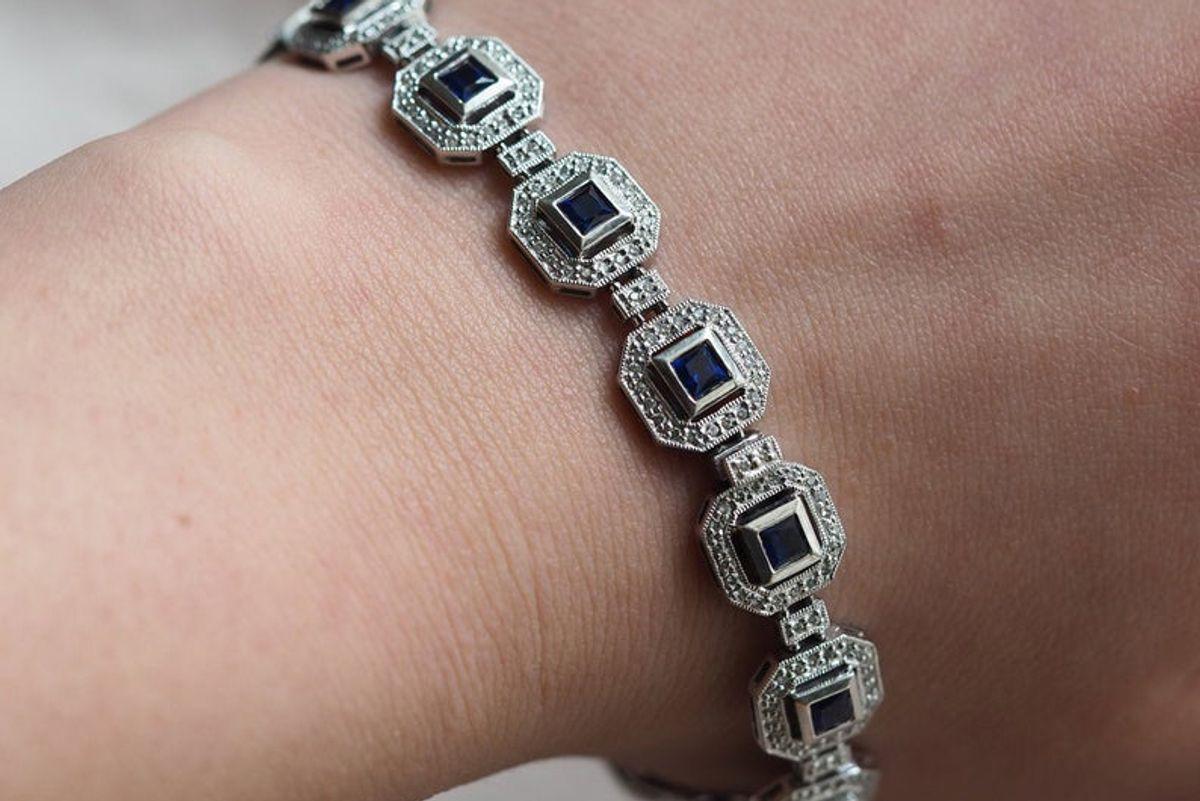 hiddenatticantiques vintage 14k white gold sapphire diamond link bracelet