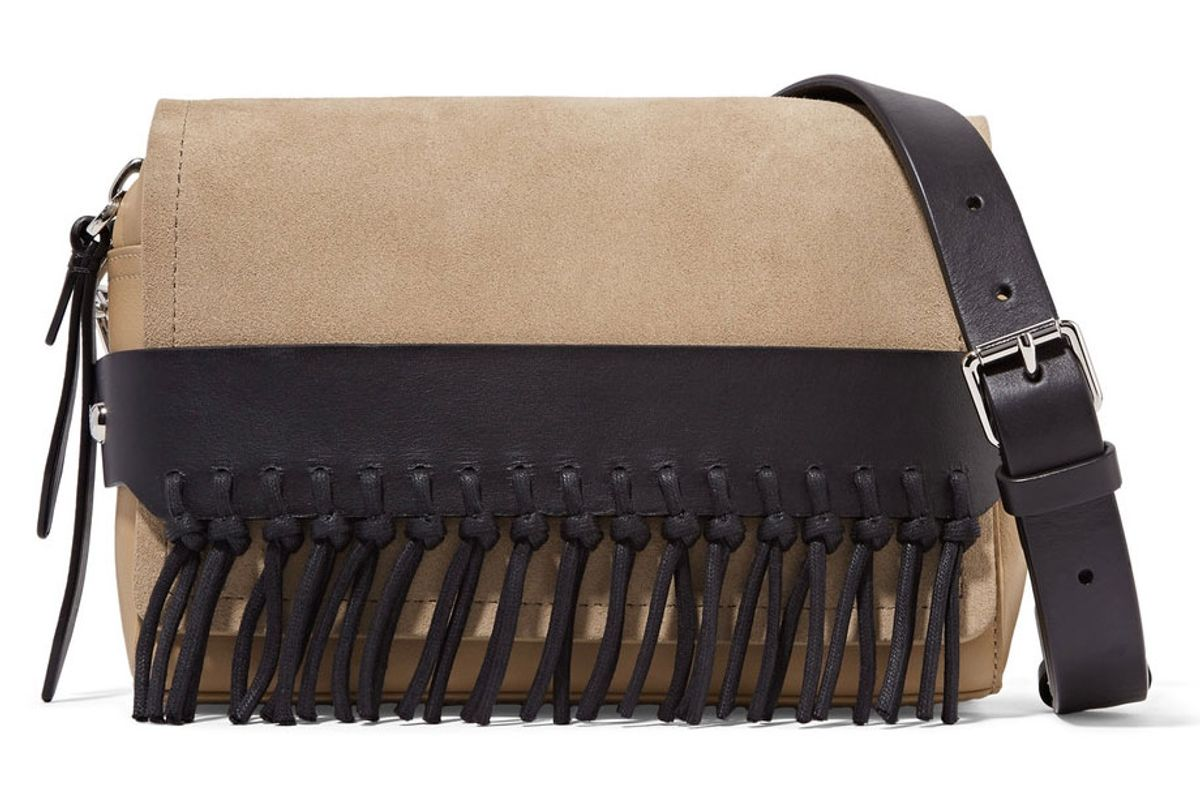 Bianca Small Fringed Suede and Leather Shoulder Bag