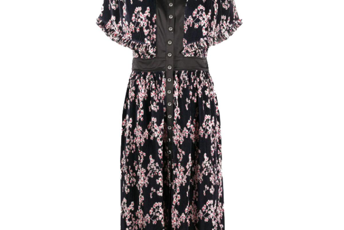 paco rabanne floral print pleated midi dress