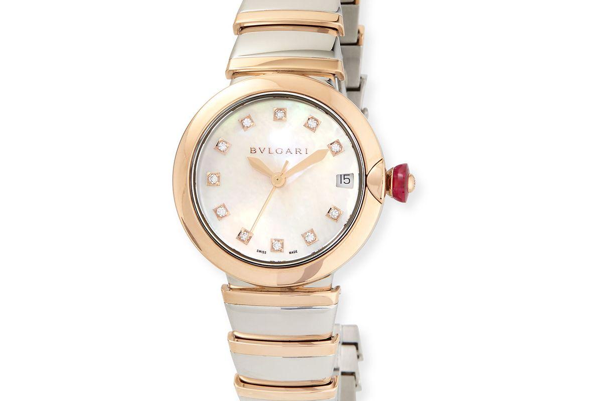 bulgari 33mm lvcea watch with diamonds