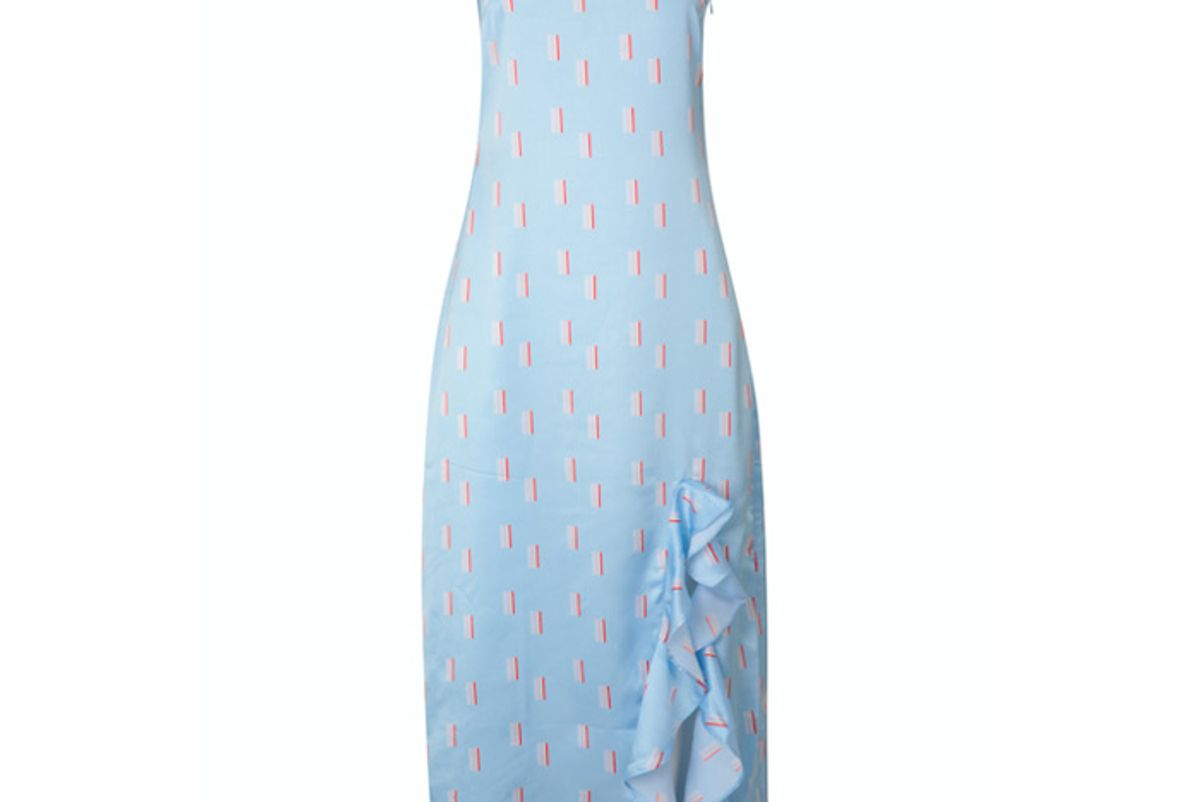 cinta the label light blue rainbow print ruffle slip dress