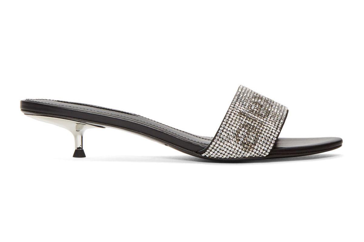 alexander wang jo crystal logo sandals