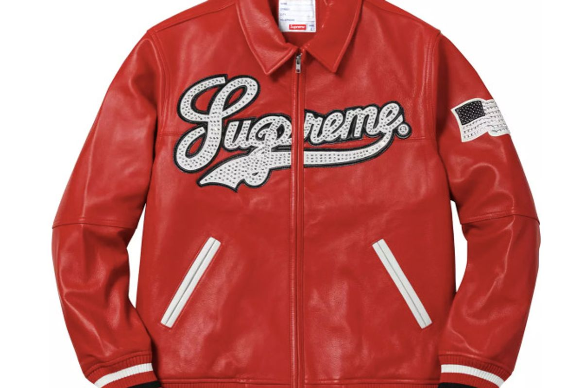 supreme uptown studded leather jacket