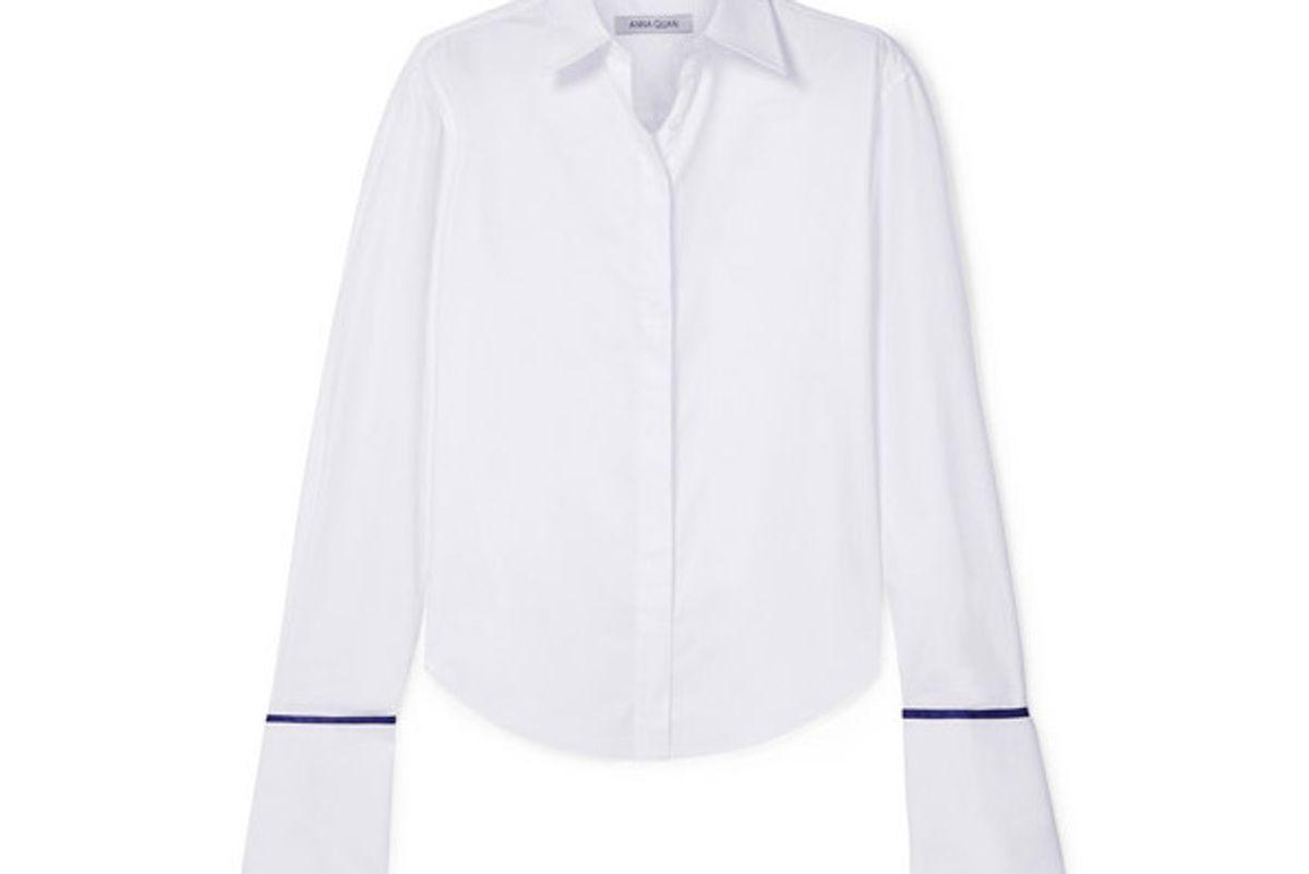 anne silk satin trimmed cotton twill shirt