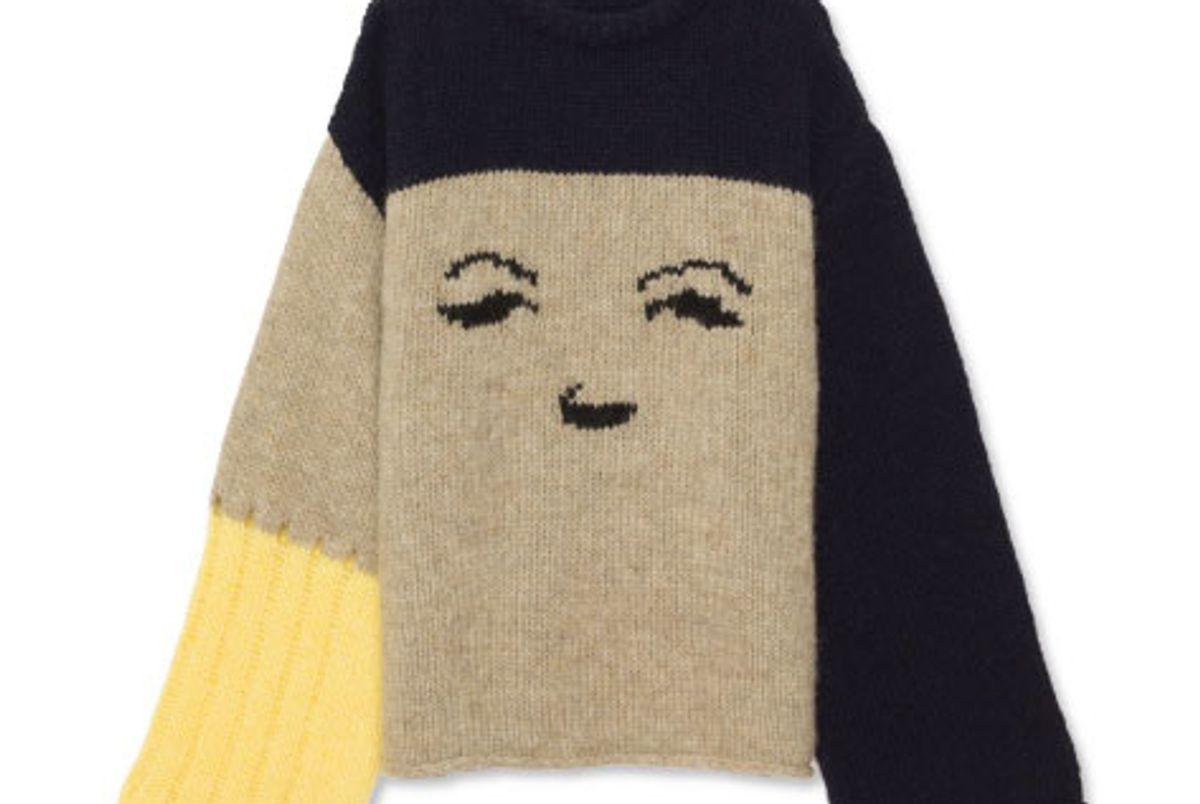 Oversize Face Intarsia Sweater