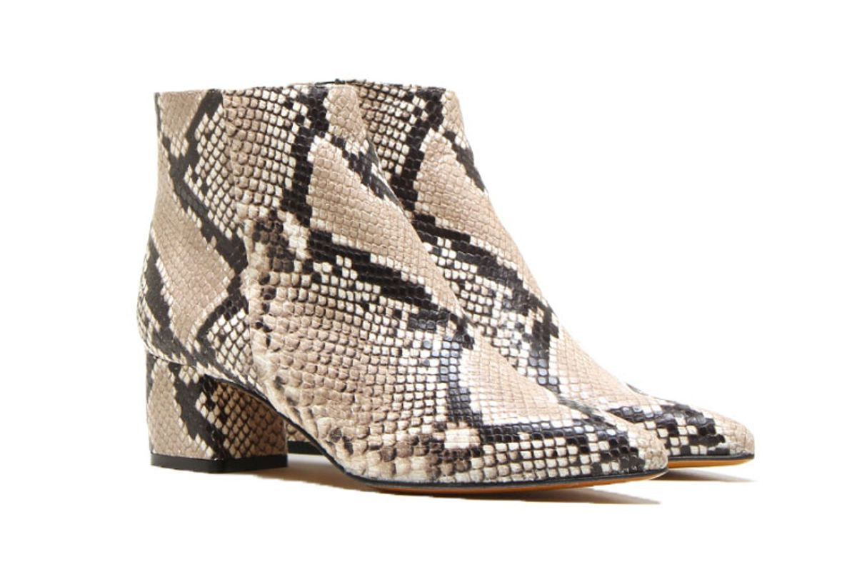 michele lopriore low heel python printed ankle boots