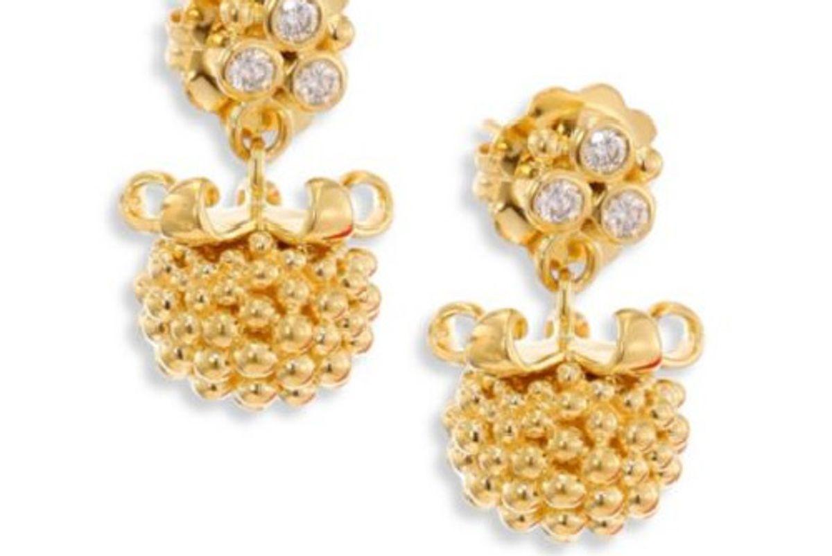 Large Pod Diamond & 18K Yellow Gold Earrings